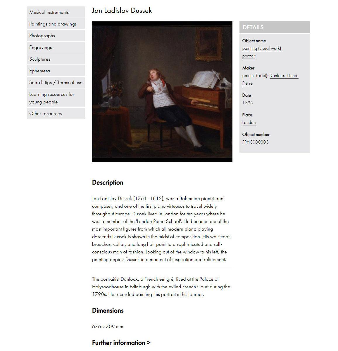 Screenshot of Royal College of Music London website - Collection: Jan Ladislav Dussek