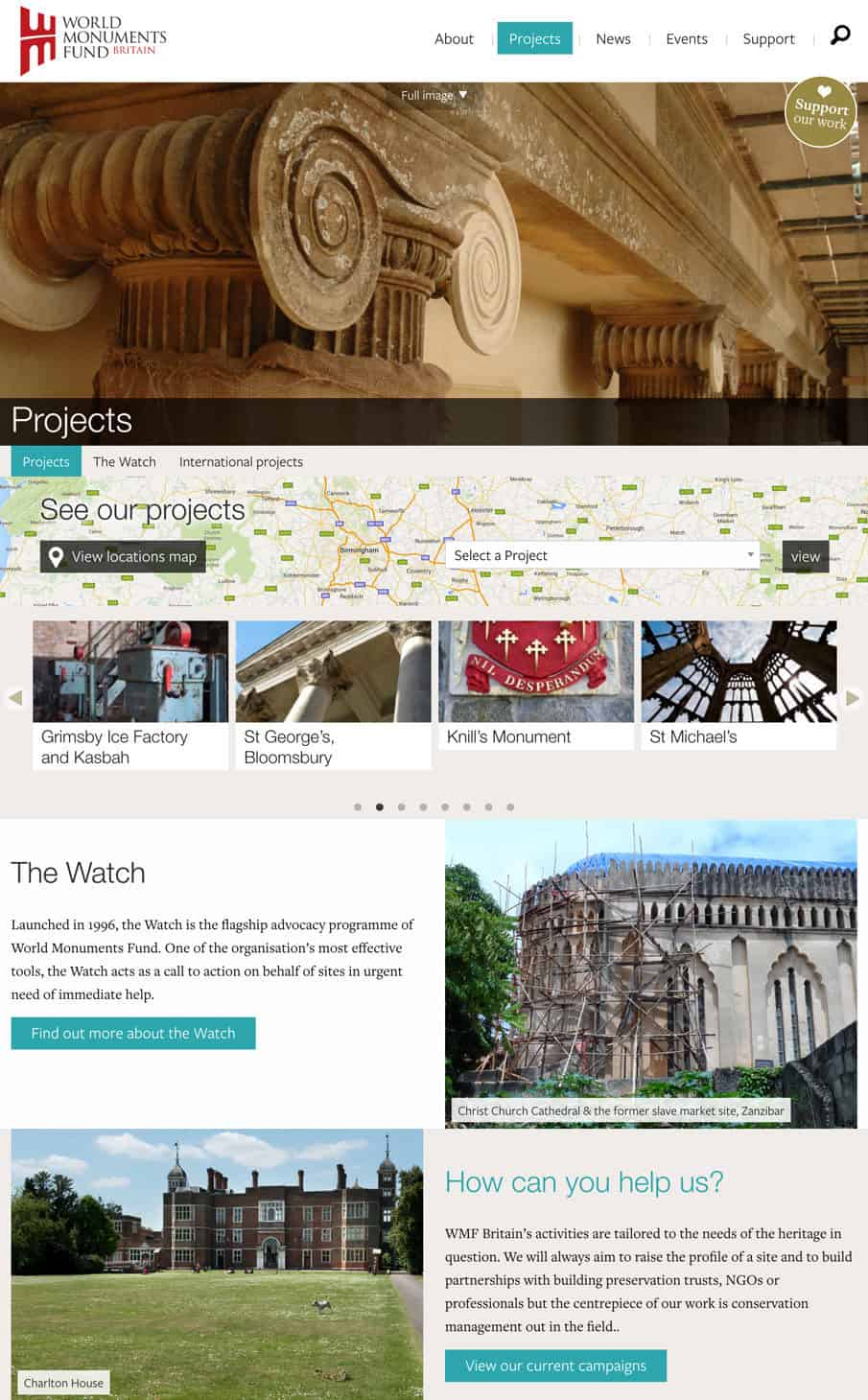 Screenshot of World Monuments Fund website - Projects