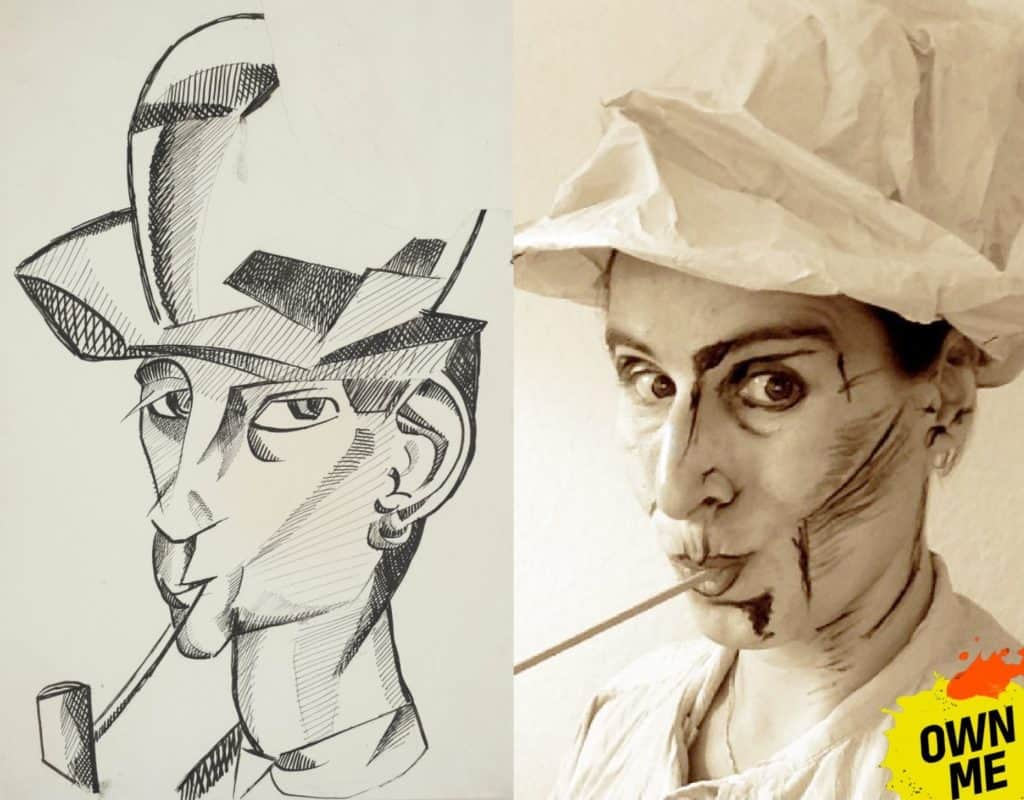 male recreating an illustration of a man wearing hat, smoking a pipe
