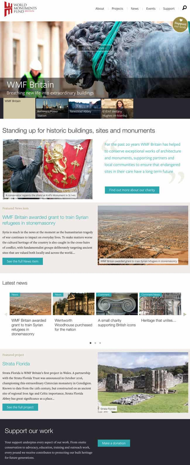 Screenshot of World Monuments Fund website - Home page