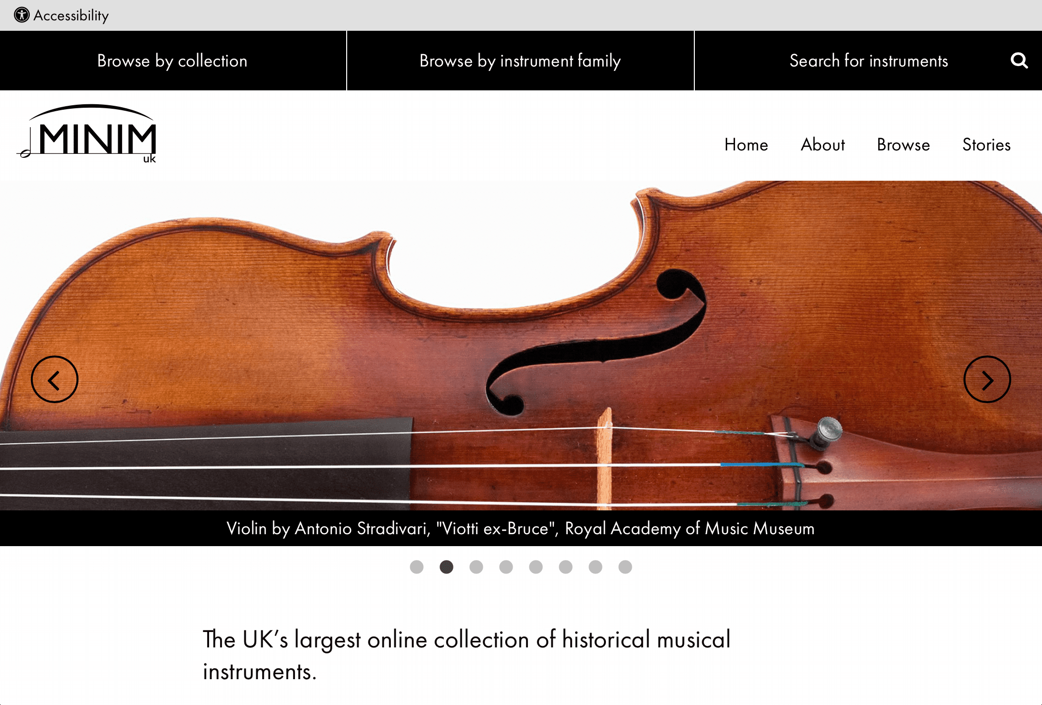 Minim UK home page - close up violin