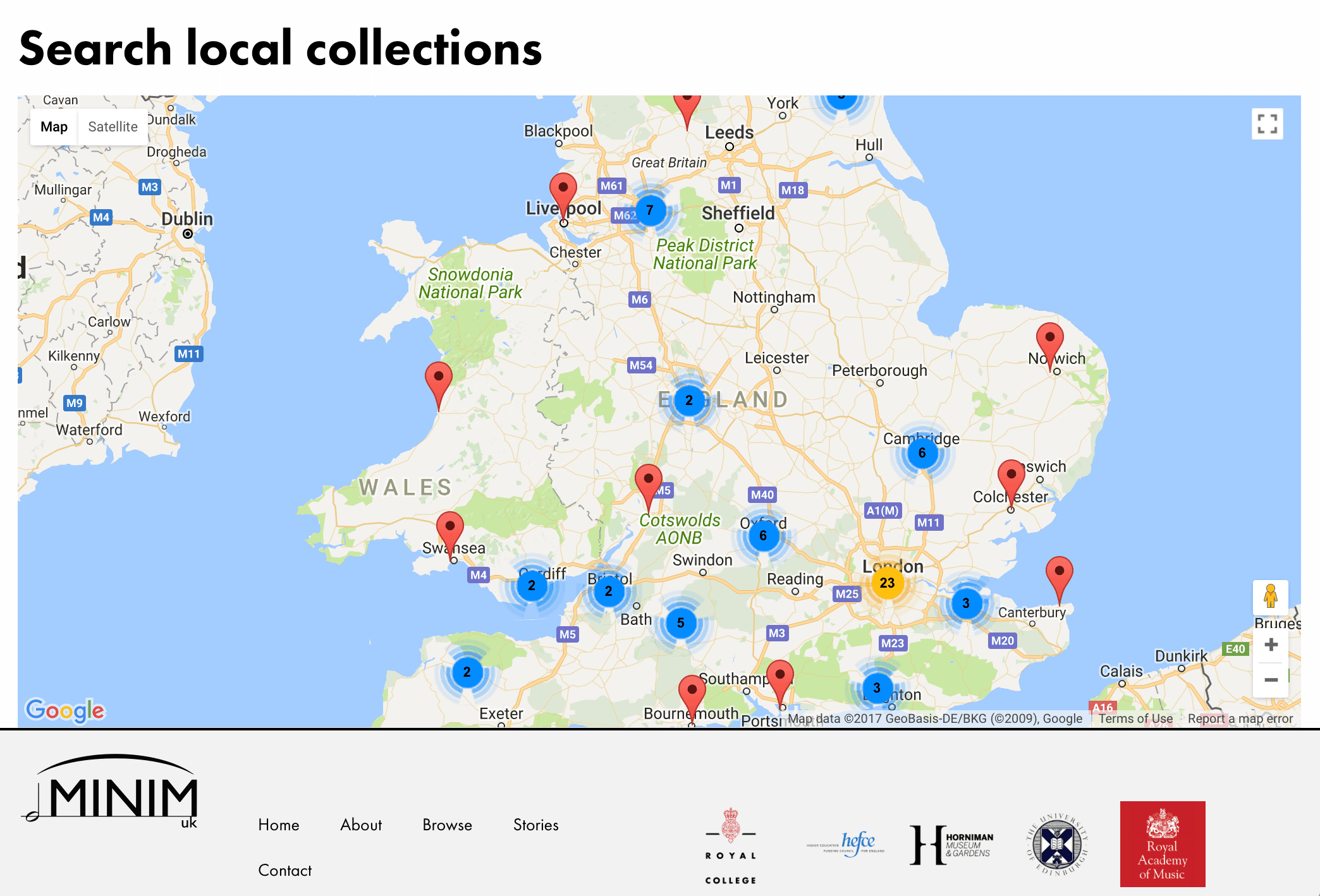 Map of UK with collections pinpointed