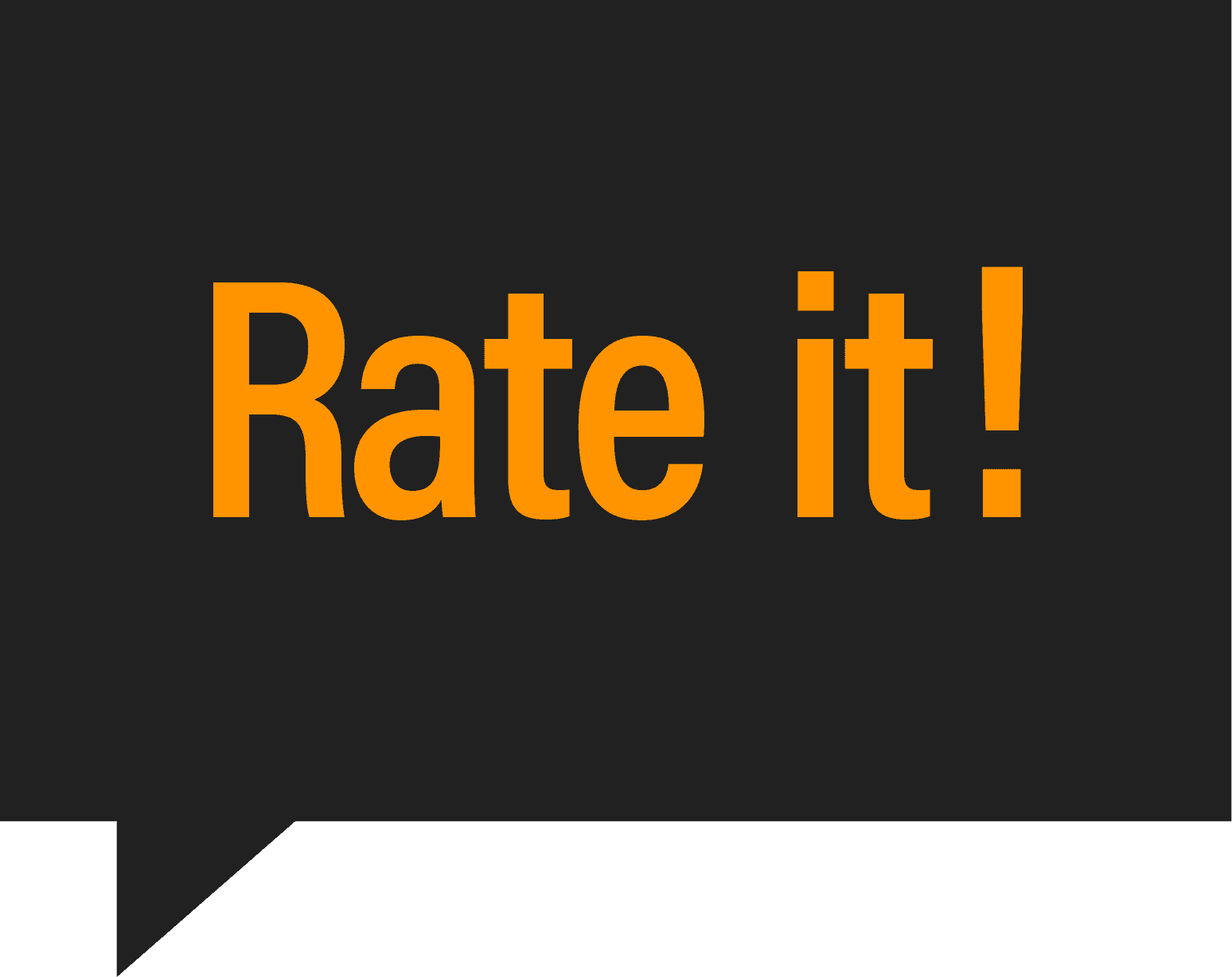 Rate it! in orange text, black background