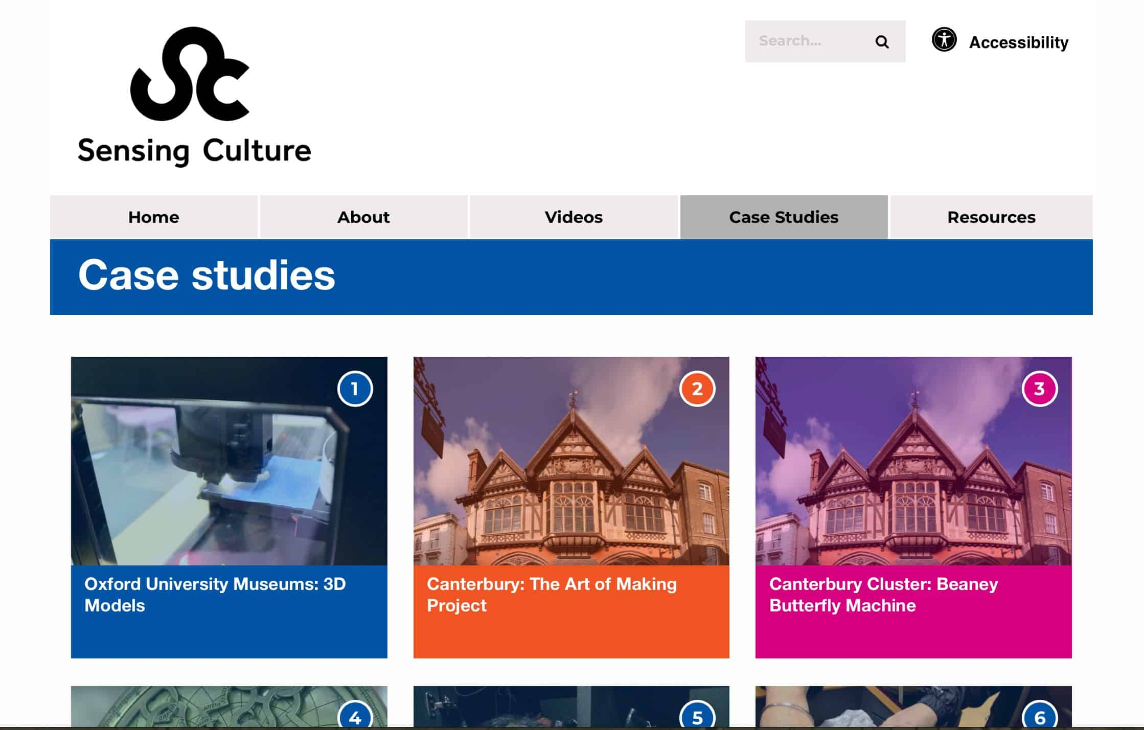 Sensing Culture website screenshot - case studies page