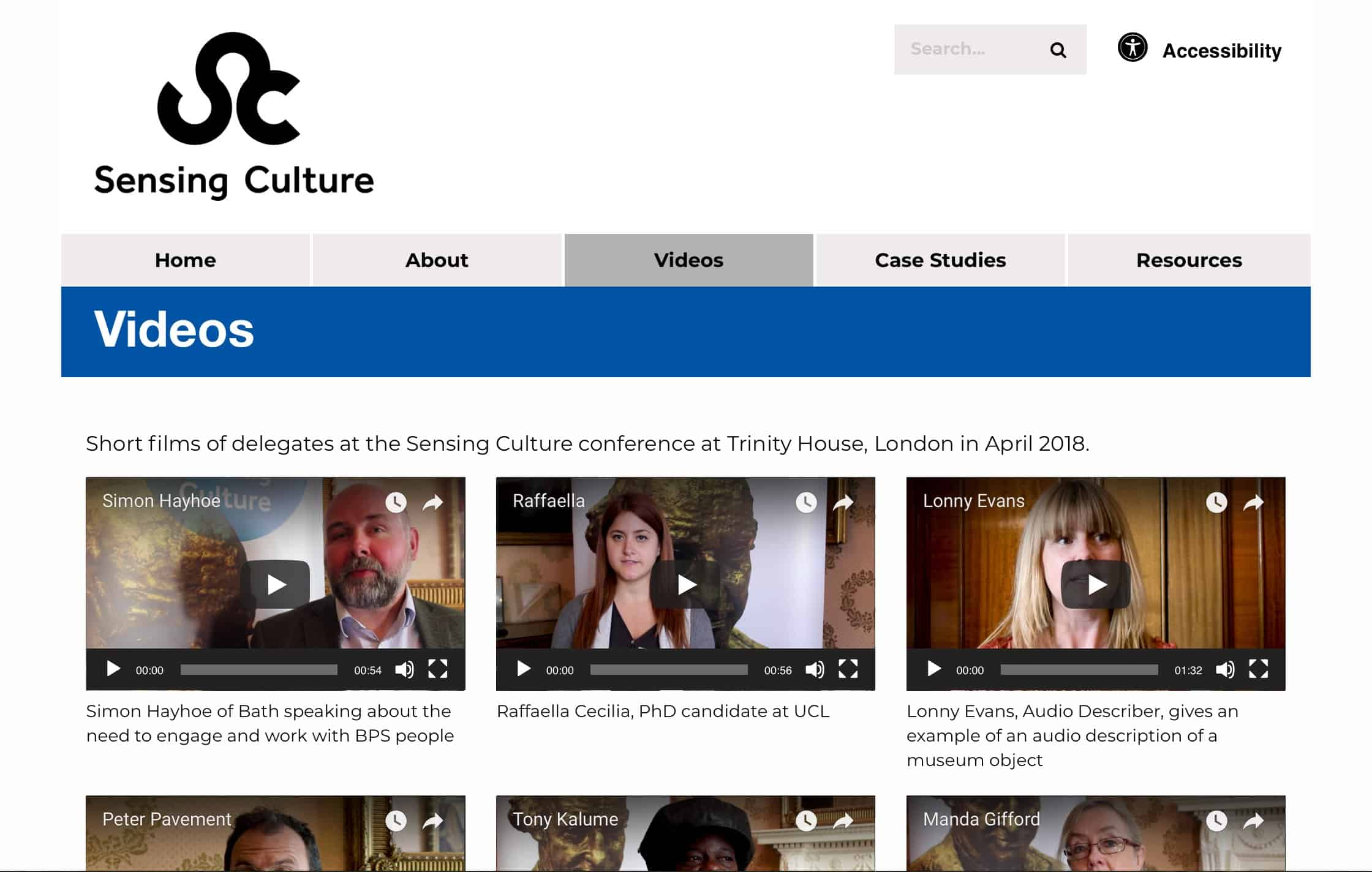 Sensing Culture website screenshot - videos page