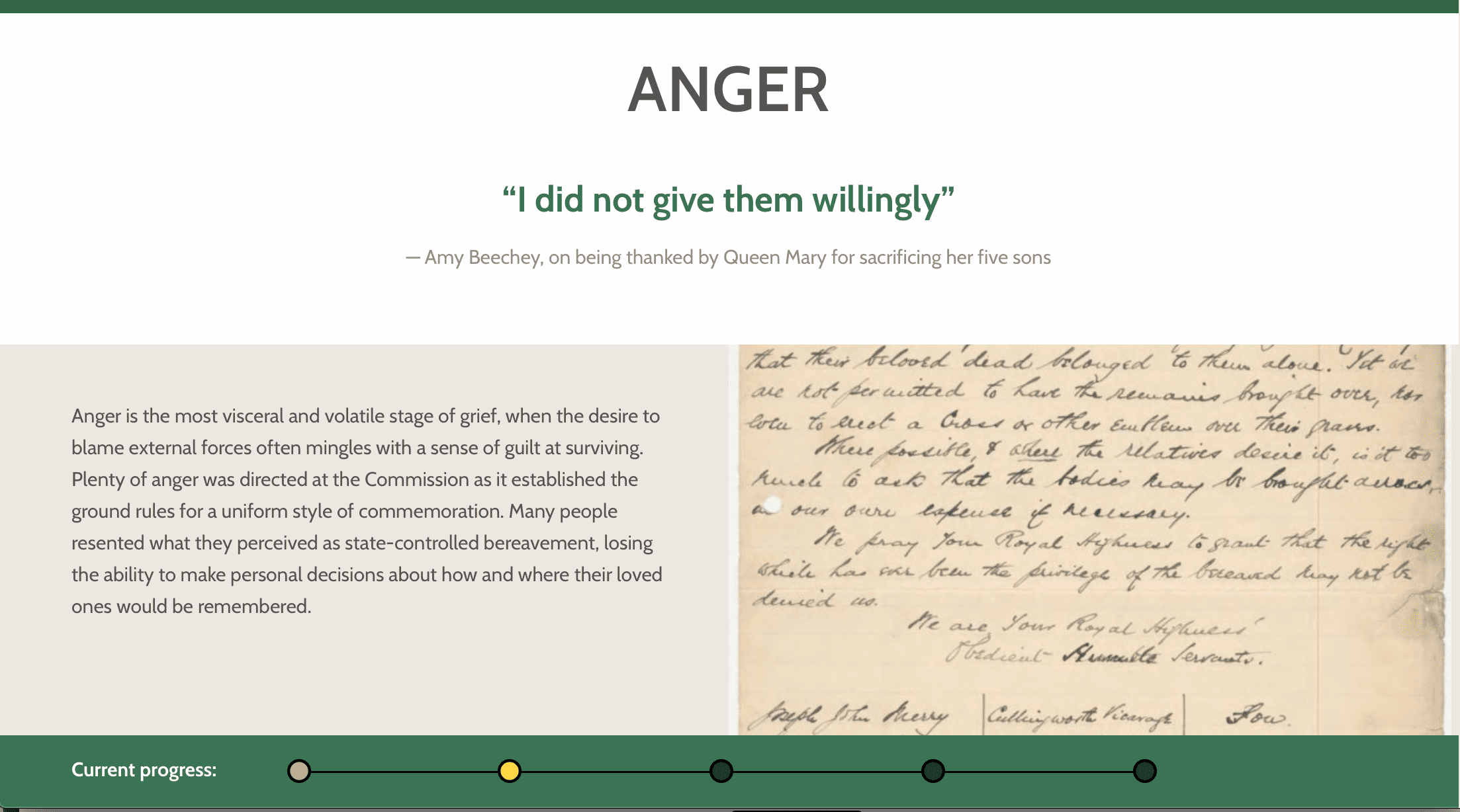 Theme page from website titled Anger