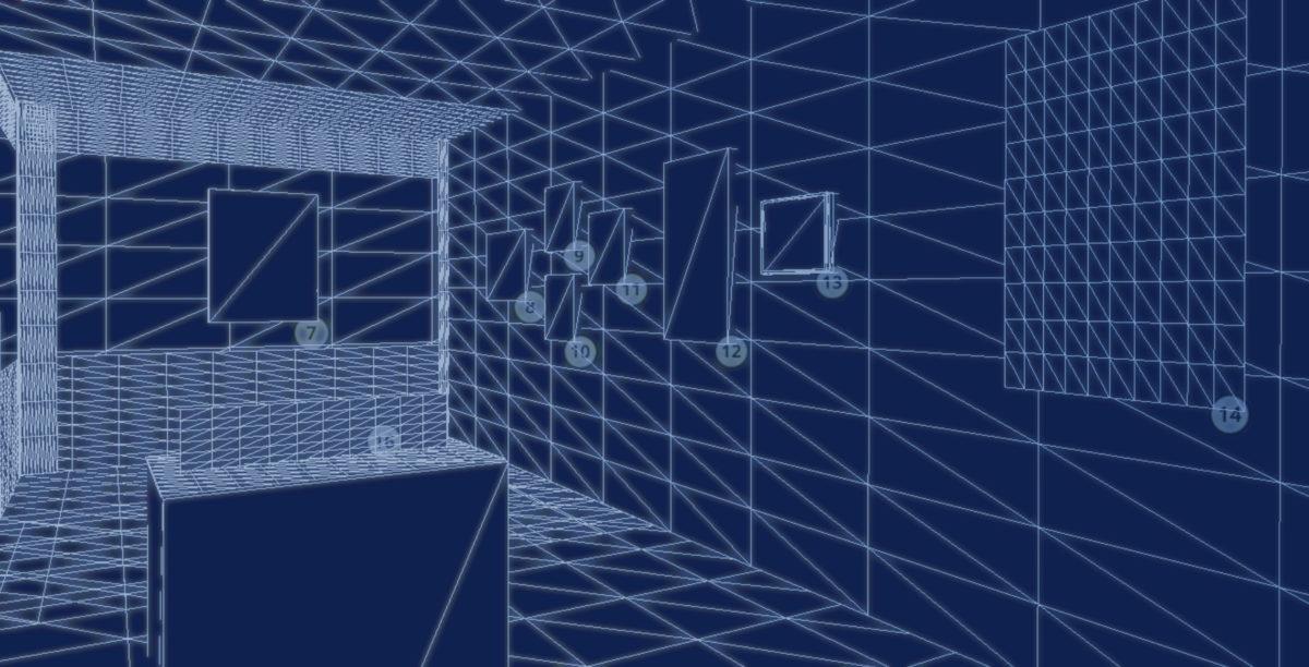 A blueprint of an online exhibition 3D model