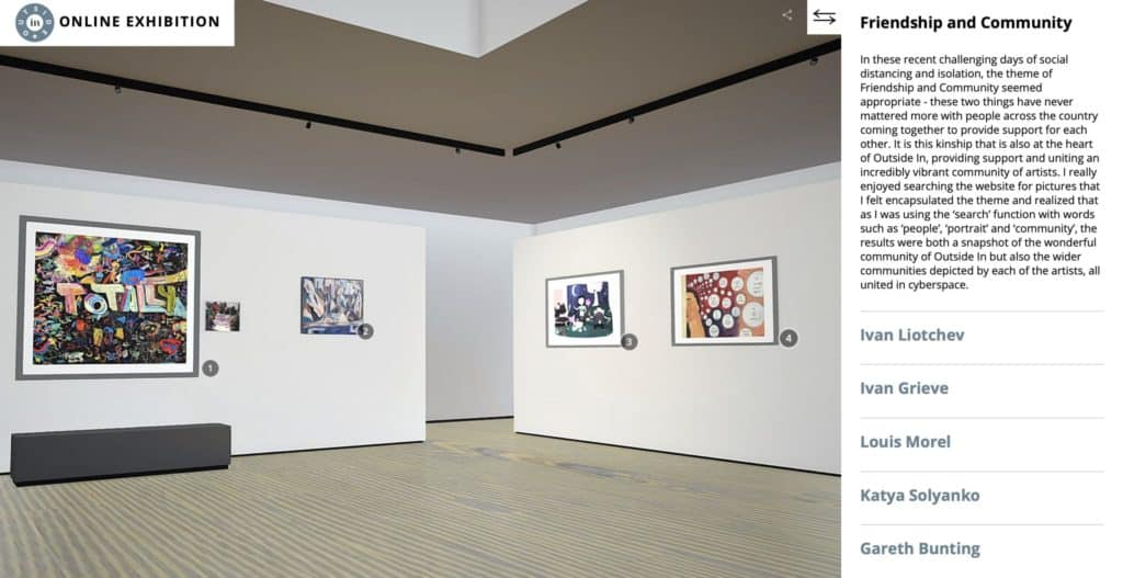 A view of a 3D gallery in the Outside In site showing four paintings in one corner of the virtual space. Alongside this, text describes the exhibition and its artists.