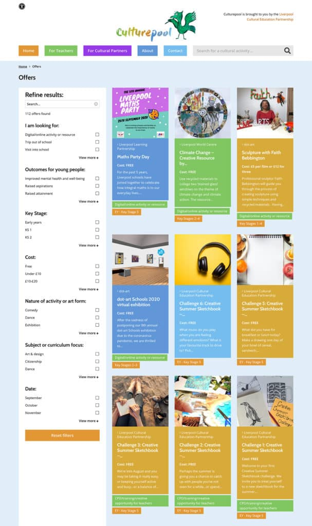 Screenshot of Culturepool website - Offers