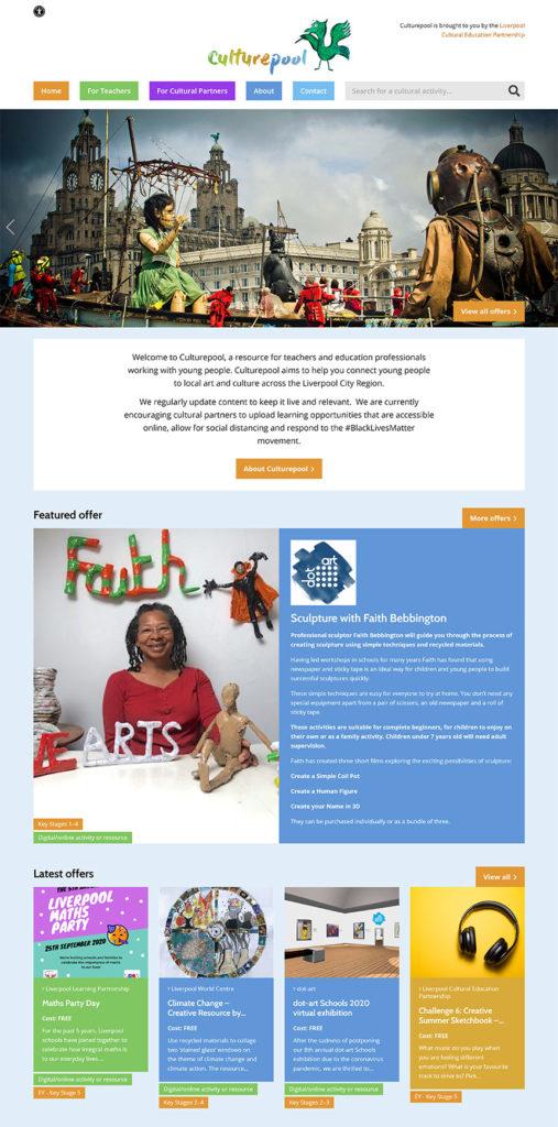 Screenshot of Culturepool website - Home