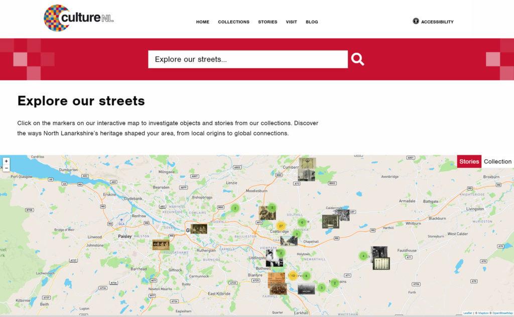 Screenshot of CultureNL website - Interactive map (explore our streets)
