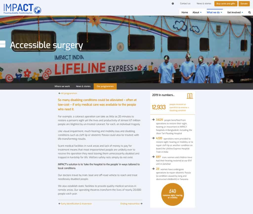Screenshot of IMPACT Foundation website - Accessible Surgery (page)