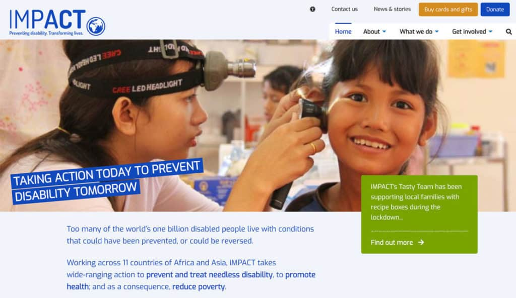 Screenshot of IMPACT Foundation website - Home page