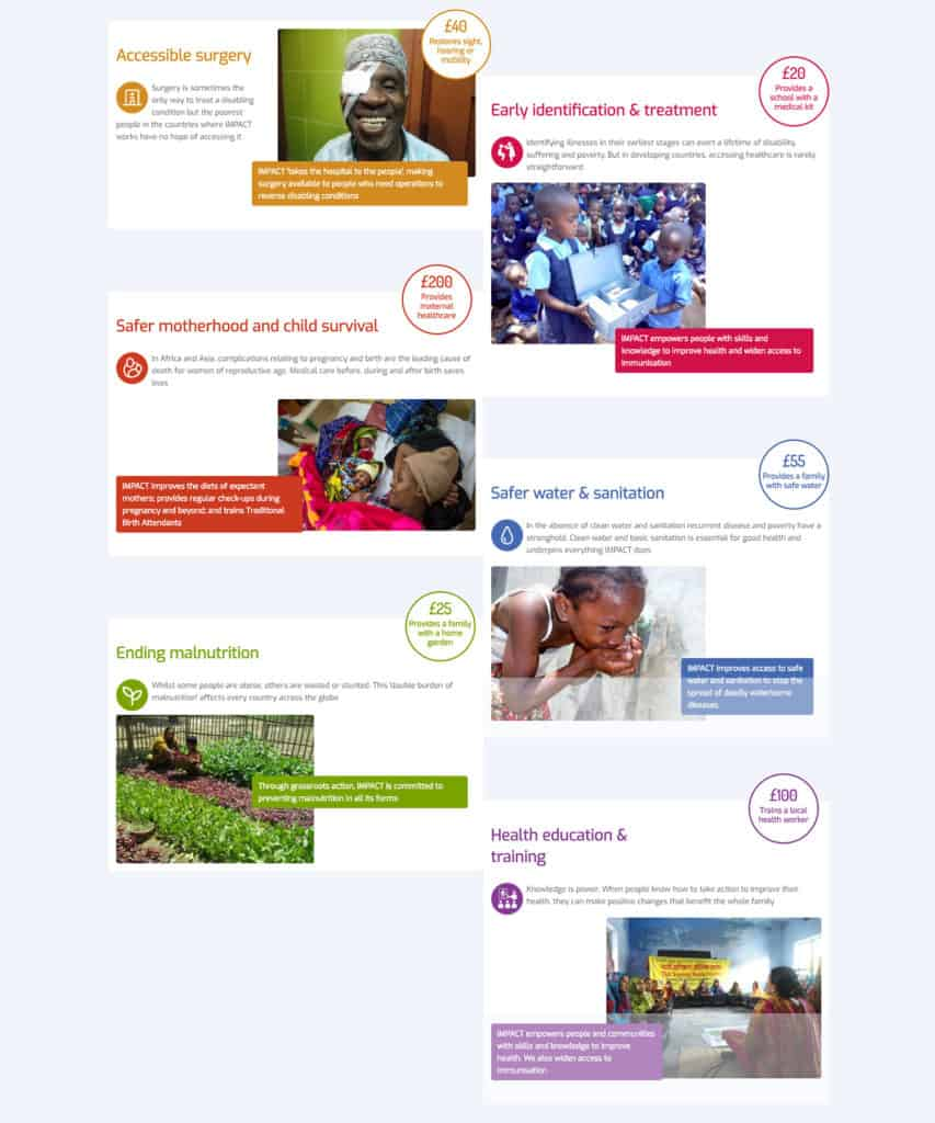 Screenshot of IMPACT Foundation website - Our Programmes