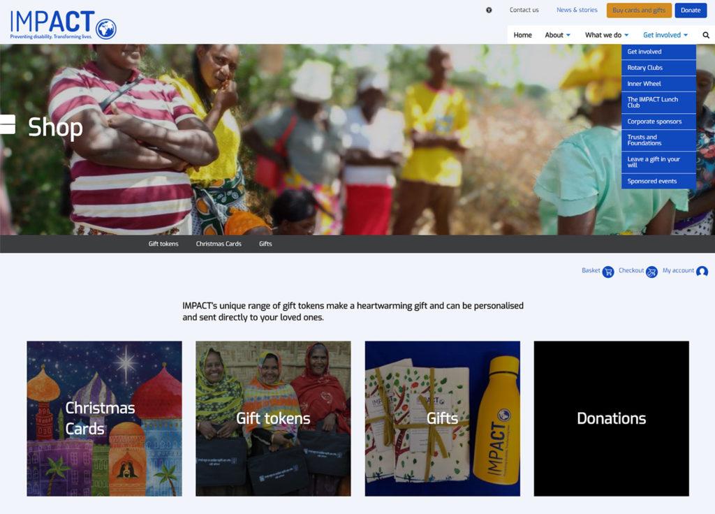 Screenshot of IMPACT Foundation website - Shop