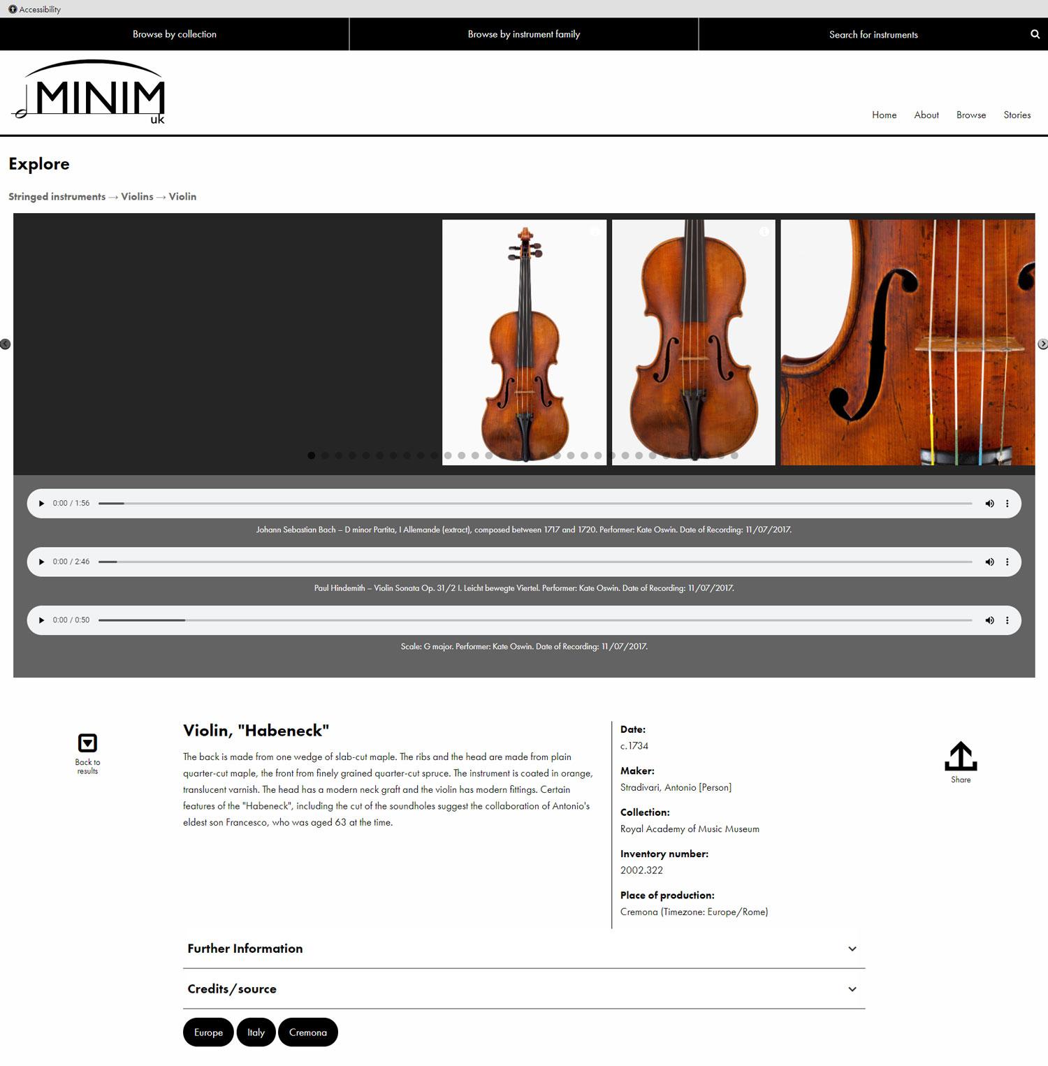 "Screenshot of MINIM UK website - Violin, ""Habernak"" collection object"
