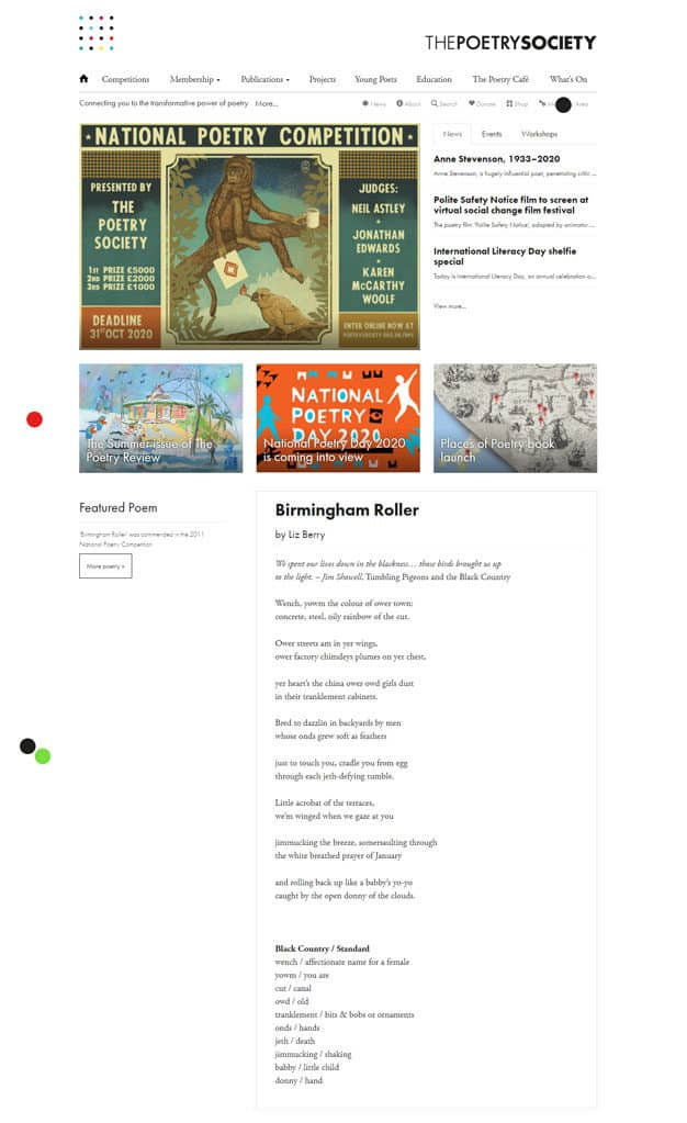 Screenshot of The Poetry Society website - Home page
