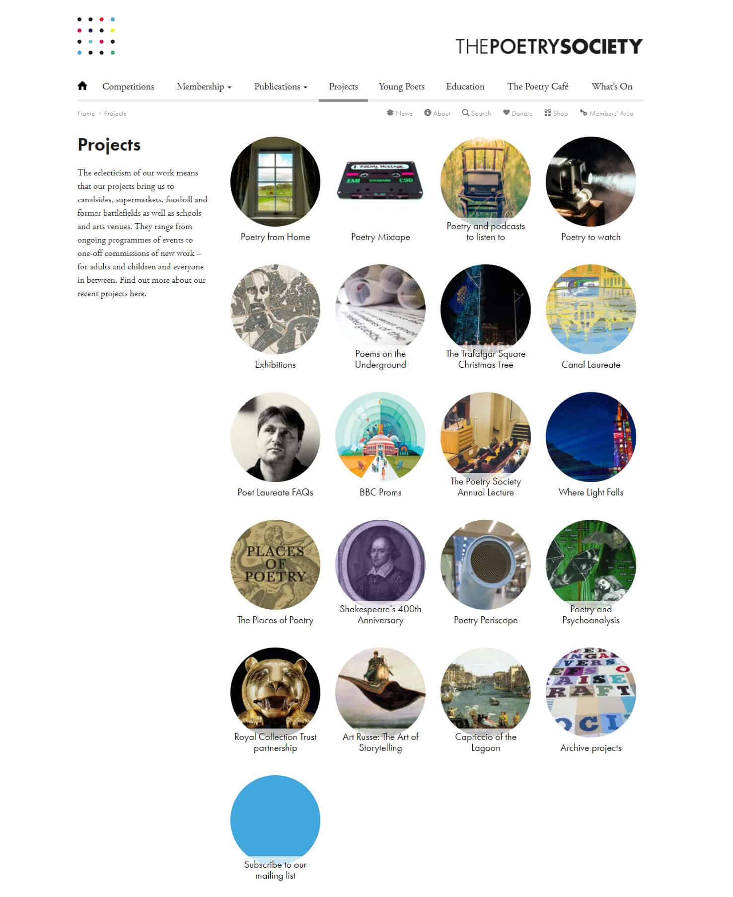 Screenshot of The Poetry Society website - Projects