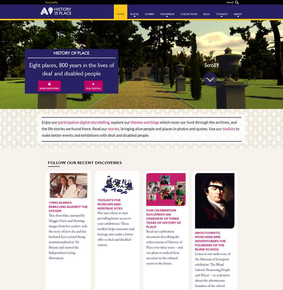 Screenshot of Accentuate online exhibition - Home page