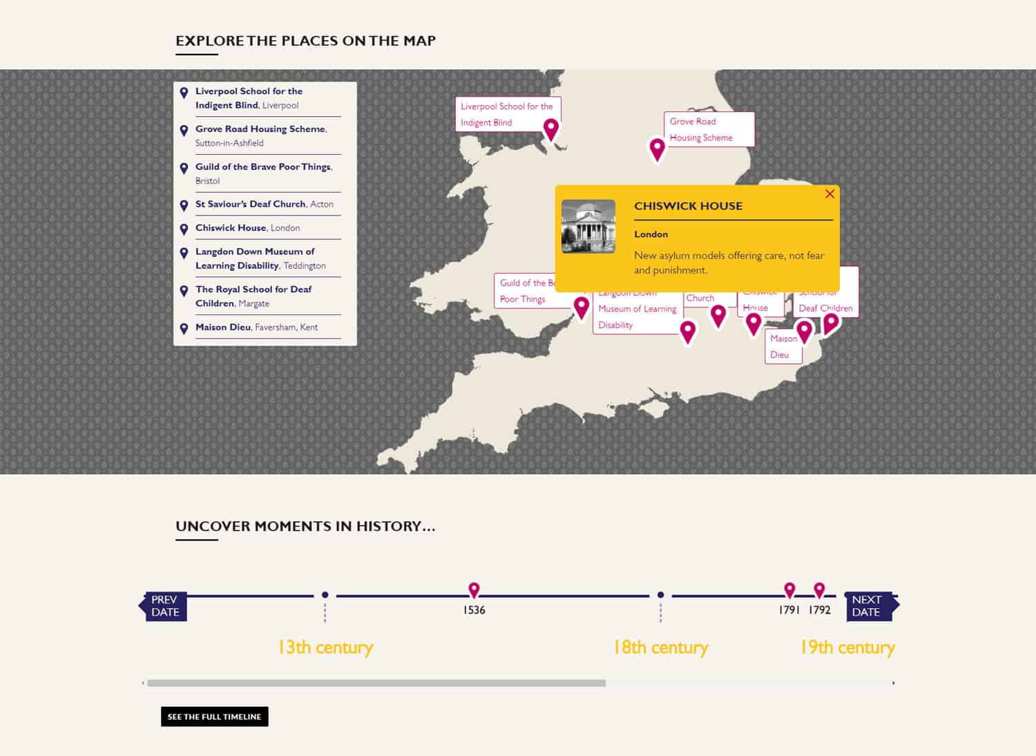 Screenshot of Accentuate online exhibition - interactive map navigation (explore places on the map)