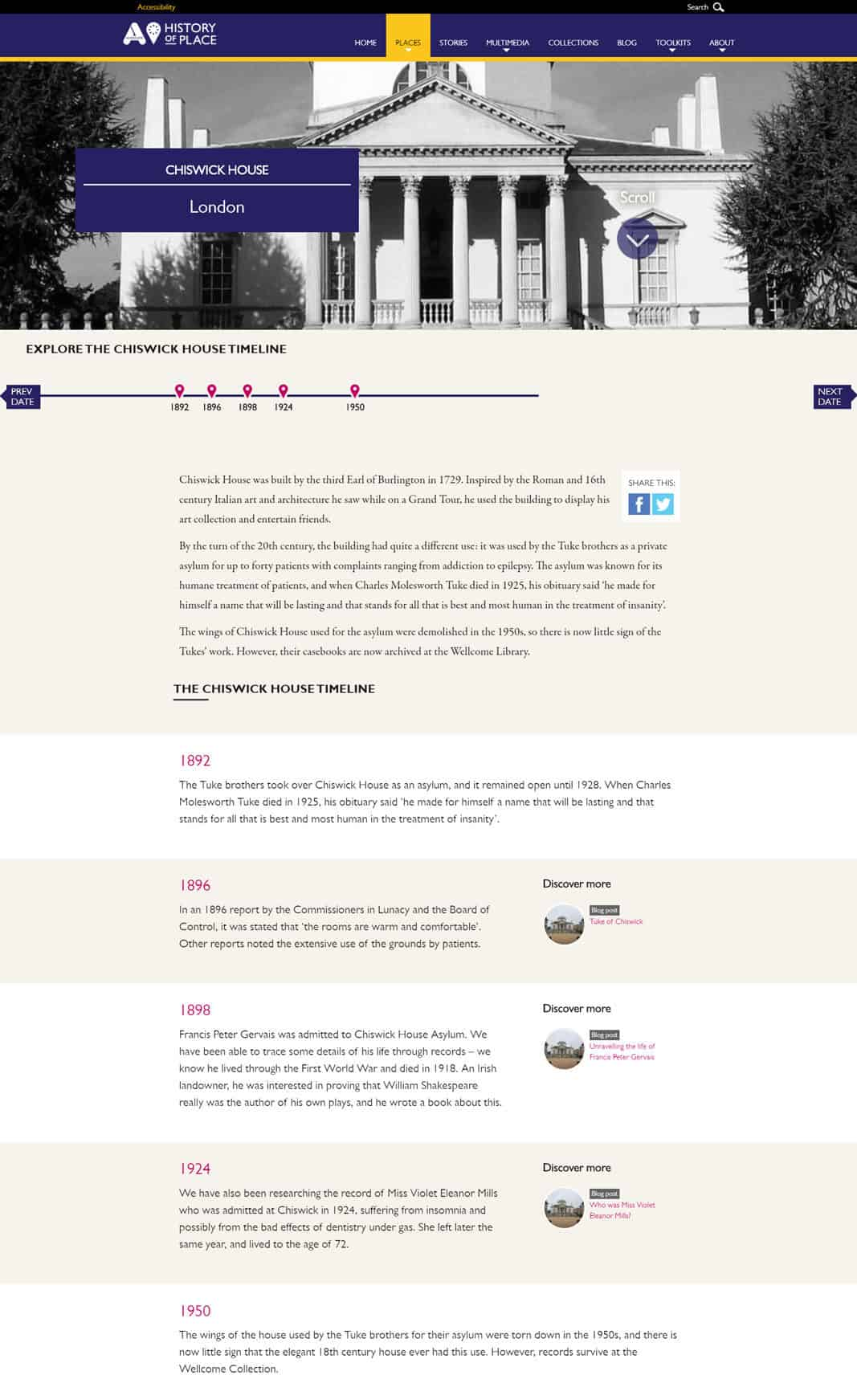 Screenshot of Accentuate online exhibition - The Cheswick House Timeline