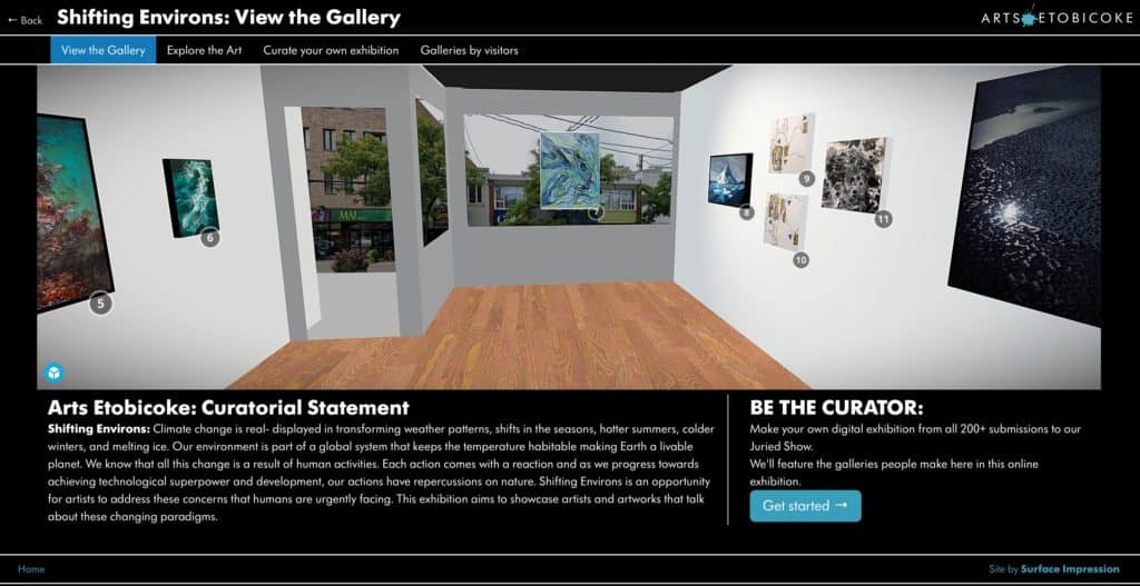 Screenshot of Arts Etobicoke online exhibition - View the Gallery