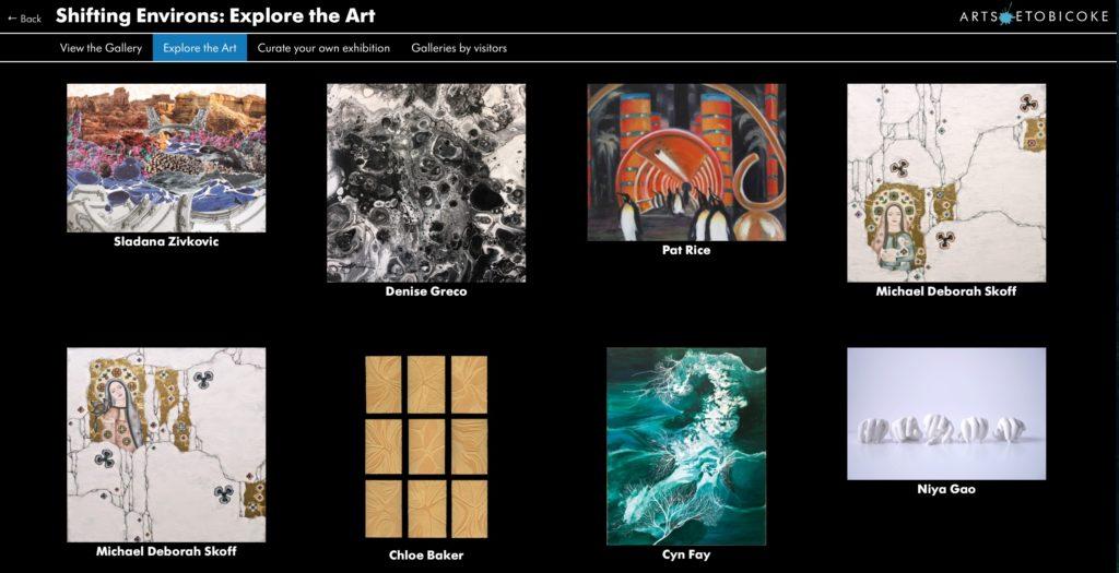 Screenshot of Arts Etobicoke online exhibition - Explore the Art