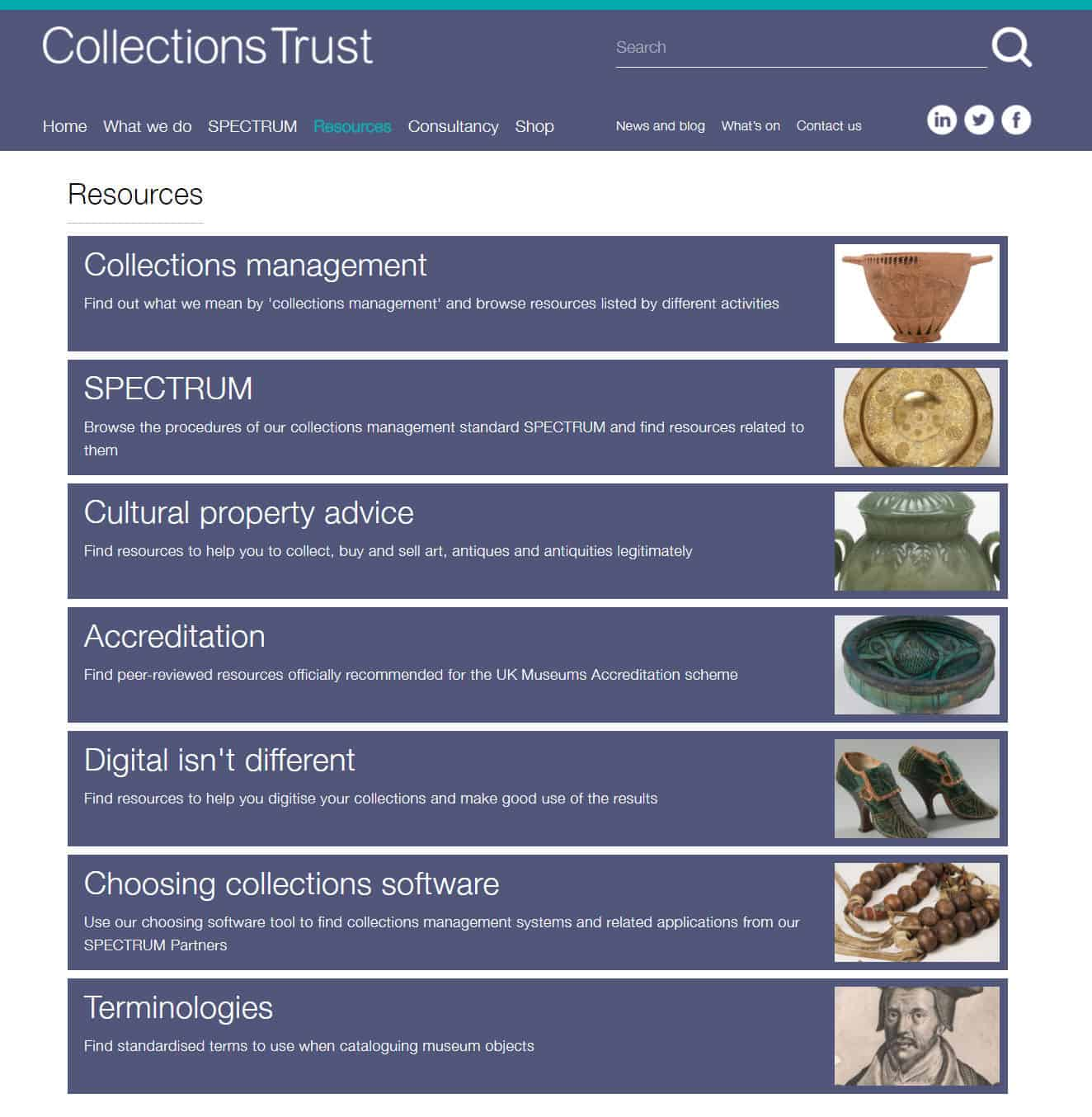 Screenshot of Collections Trust website - Resources