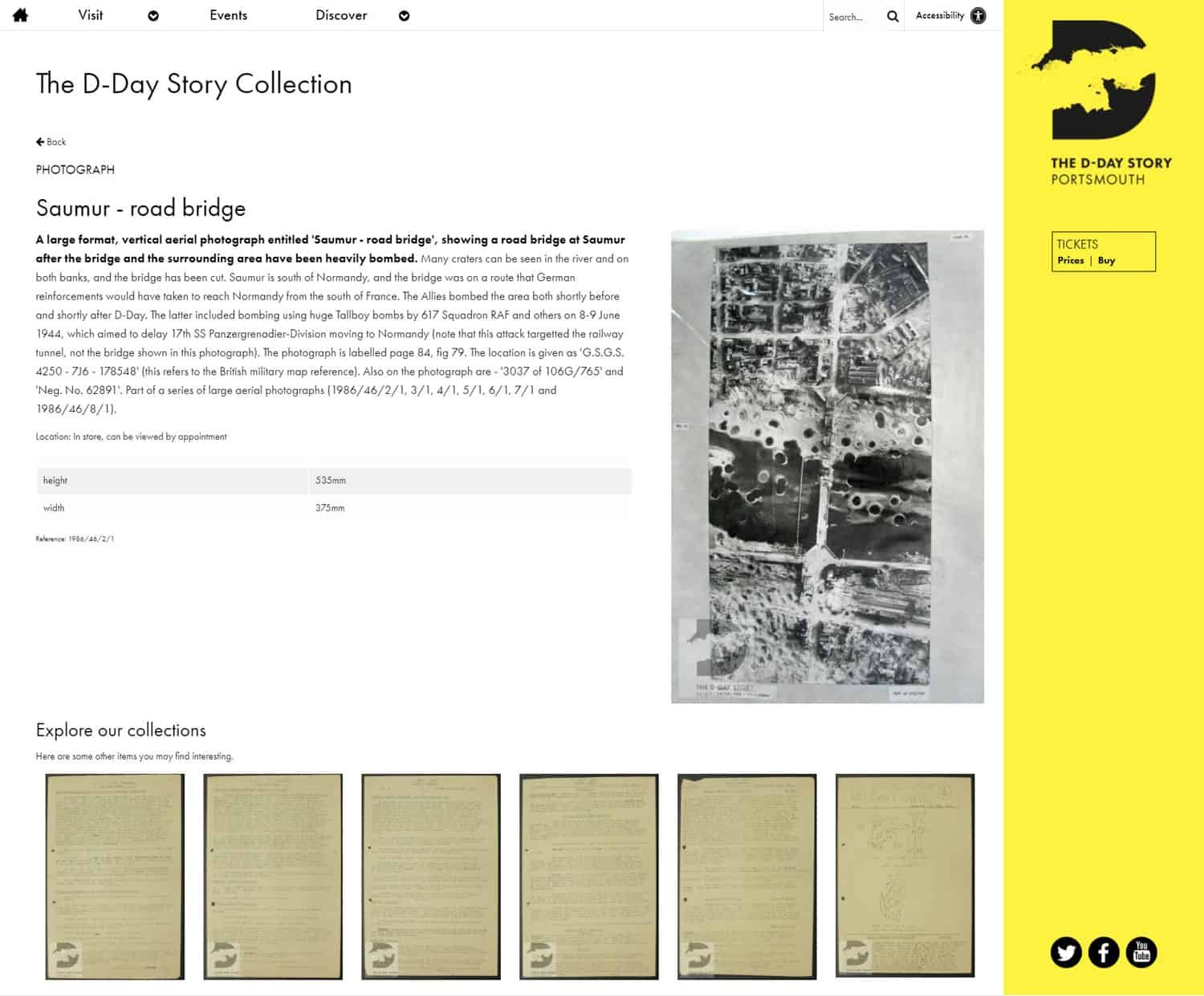 Screenshot of The D-Day Story website - Collection object: Photograph > Saumur - road bridge
