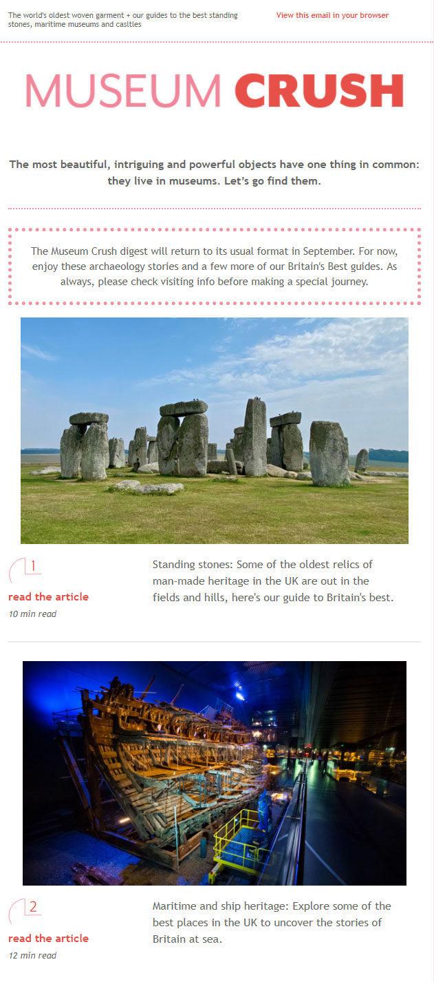 Screenshot of Museum Crush newsletter design