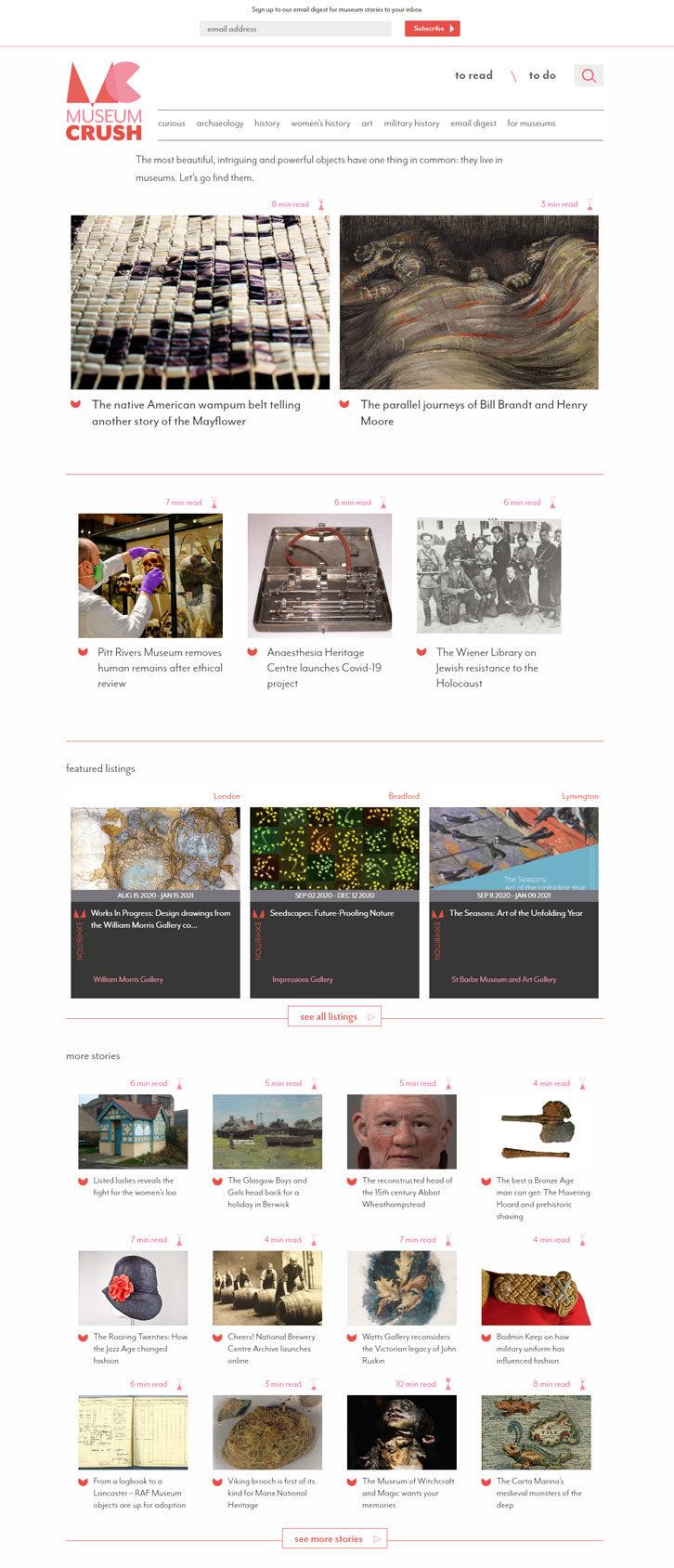 Screenshot of Museum Crush website - Home page