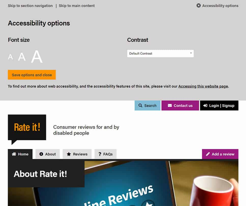 Screenshot of Rate It website - custom accessibility tool-bar for website