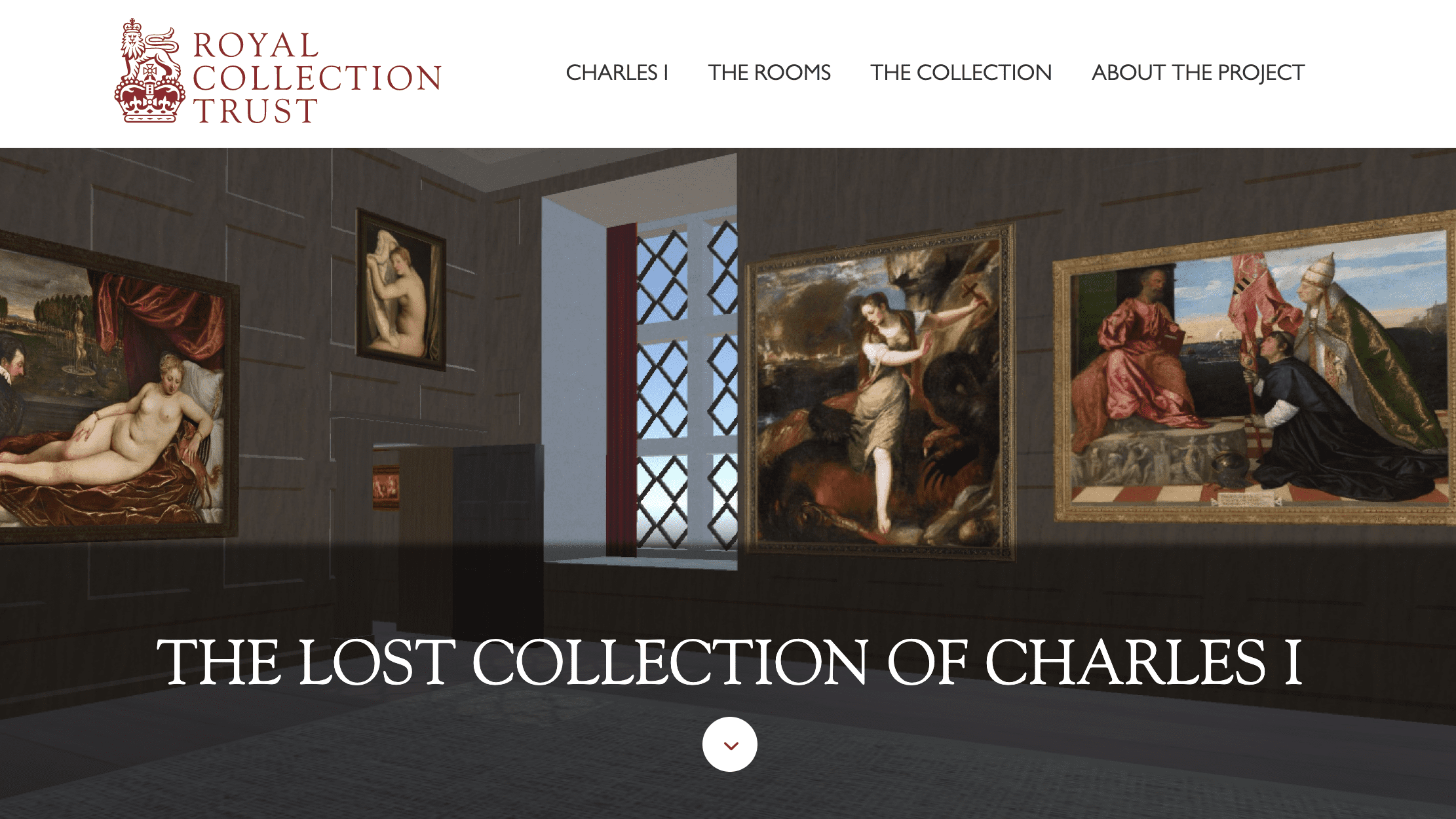 Screenshot of Royal Collection Trust online exhibition - The Lost Collection of Charles 1