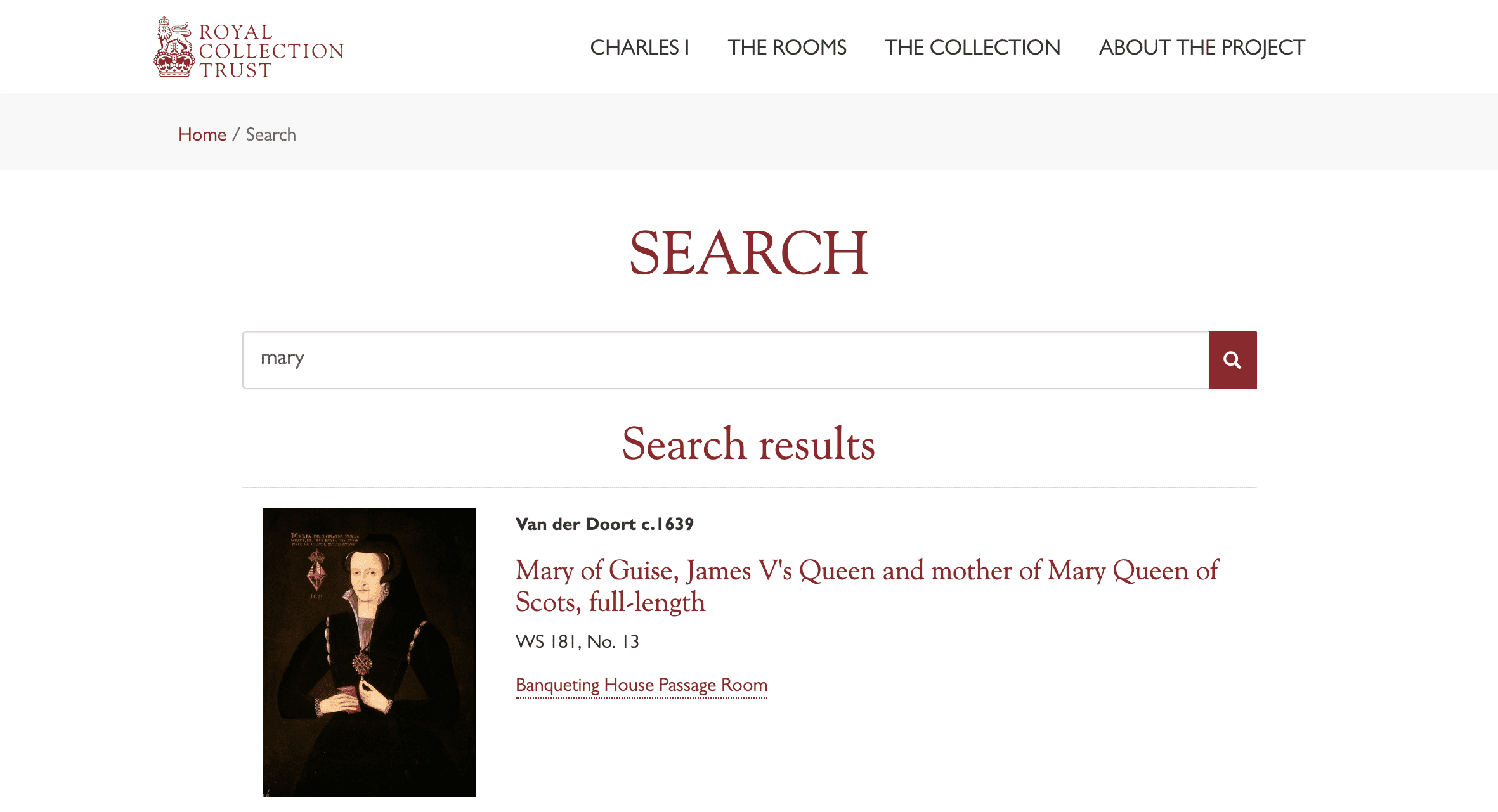 Screenshot of Royal Collection Trust website - Search results