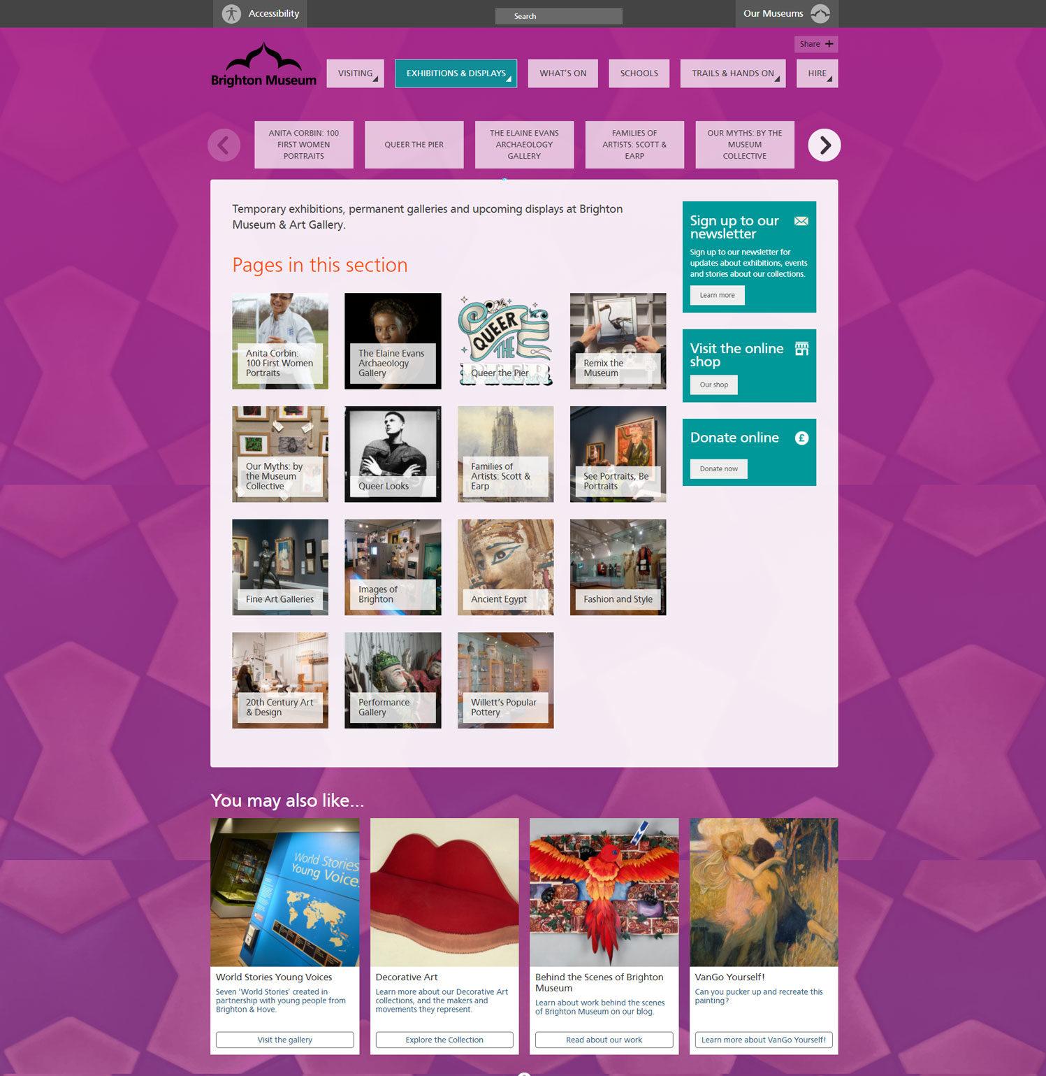 Screenshot of Brighton & Hove Museums website - Brighton Museum: Exhibitions & Displays