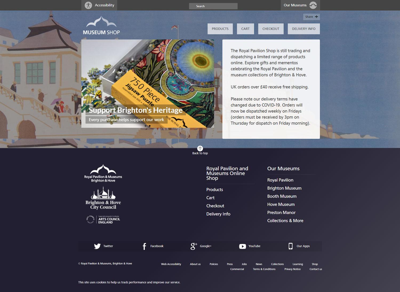 Screenshot of Brighton & Hove Museums website - Museum Shop