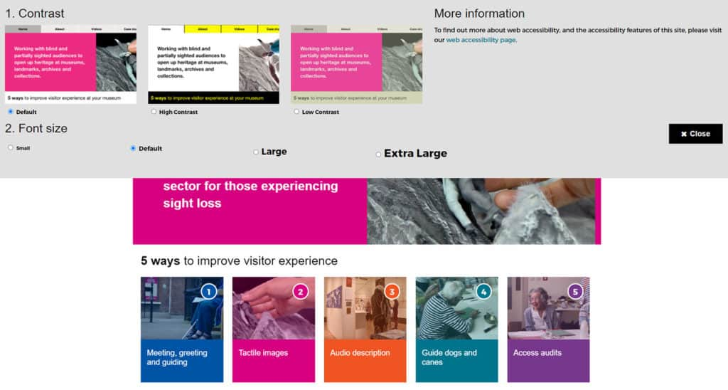 Screenshot of Sensing Culture website - custom accessibility tool bar