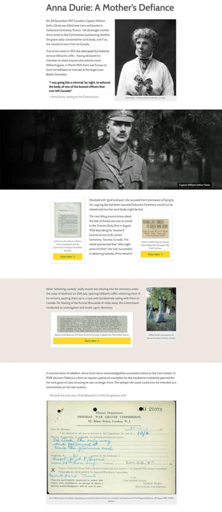 Screenshot of Shaping Their Sorrow online exhibition - Anna Durie: A Mother's Defiance page