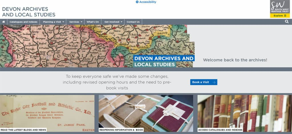 Screenshot of The South West Heritage Trust multi-site - Devon Archives & Local Studies