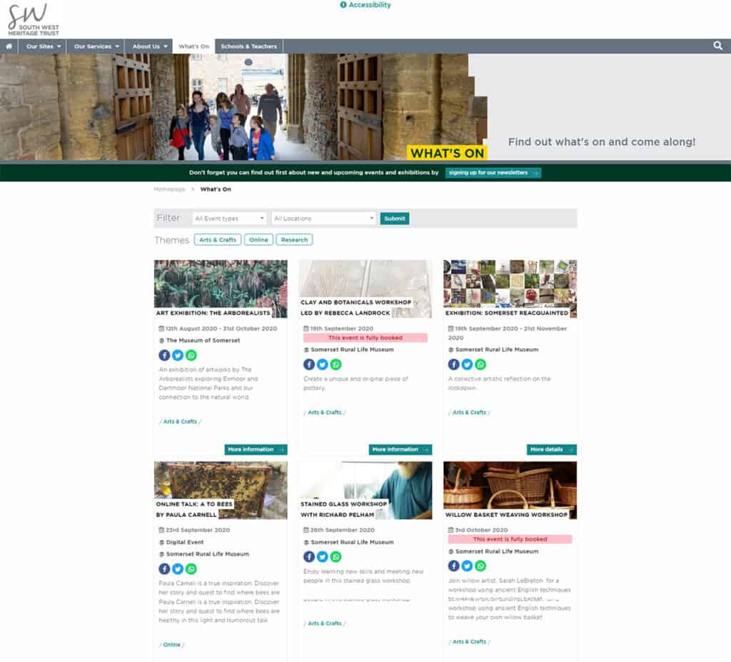 Screenshot of The South West Heritage Trust multi-site - What's On (events listings)
