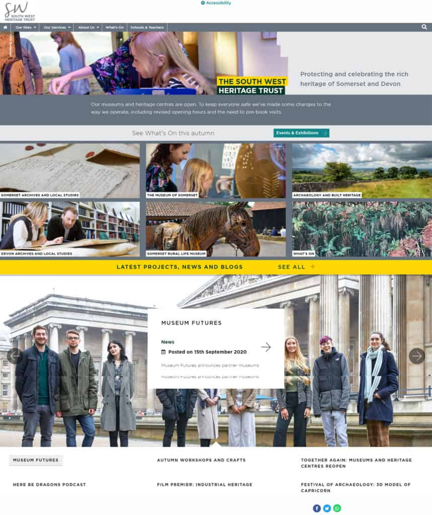 Screenshot of The South West Heritage Trust website - home page