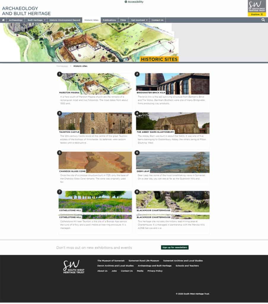 Screenshot of The South West Heritage Trust multi-site - Archaeology & Built Heritage: Historic Sites