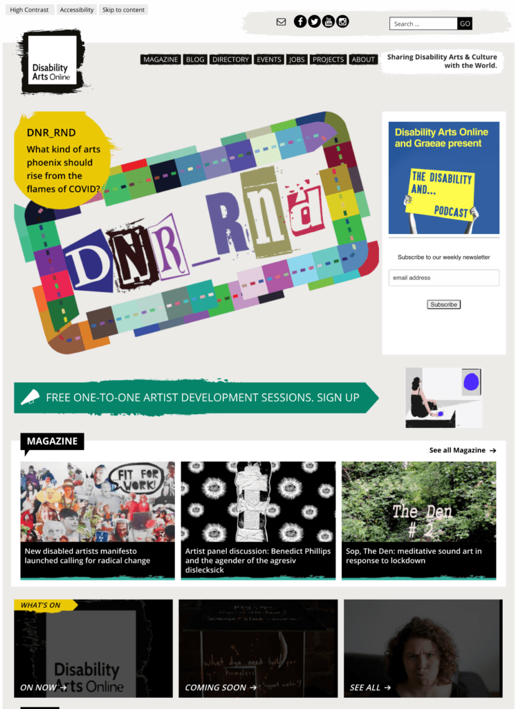 Screenshot of Disability Arts Online website - Home page