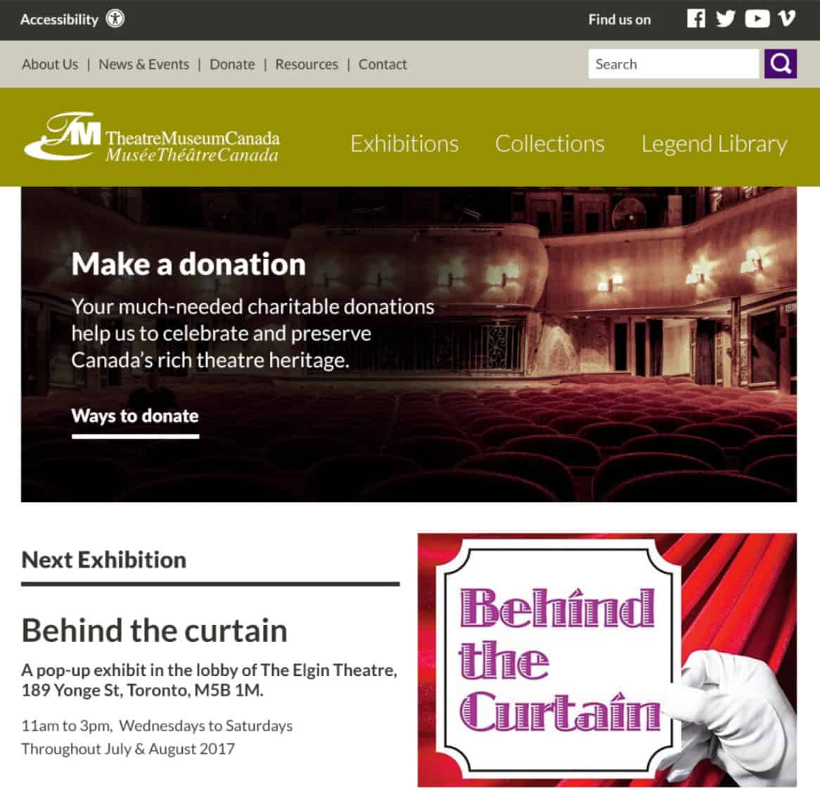 Screenshot of Theatre Museum Canada website - Exhibitions page