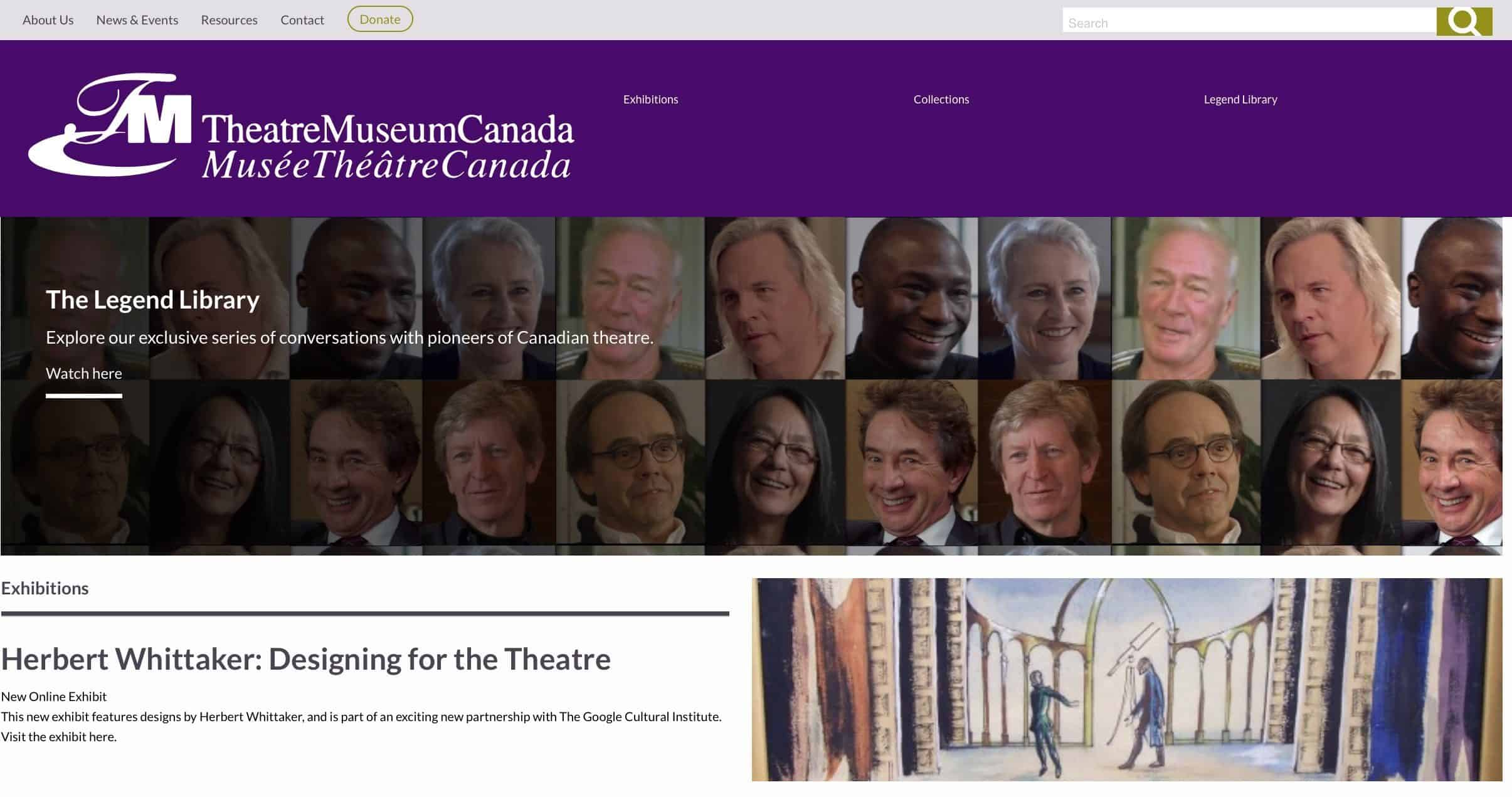 Screenshot of Theatre Museum Canada website - Home page