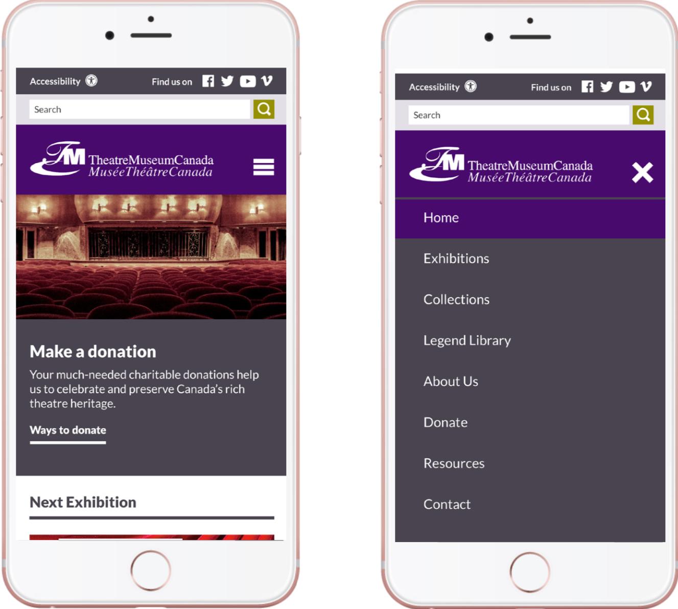 Mobile application mock-up of Theatre Museum Canada app - Donations & main menu navigation
